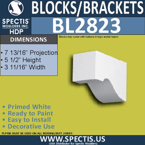 "BL2823 Eave Block or Bracket 3.7""W x 5.5""H x 7.8"" P"