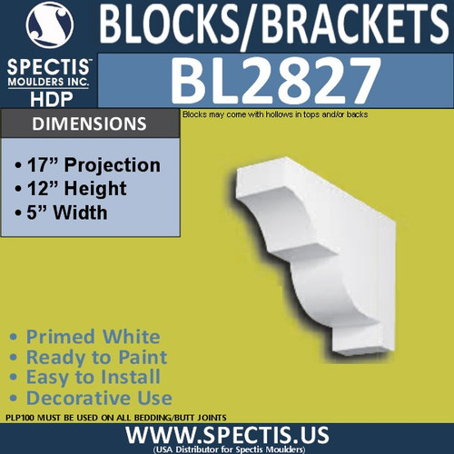 "BL2827 Eave Block or Bracket 5""W x 12""H x 17"" P"
