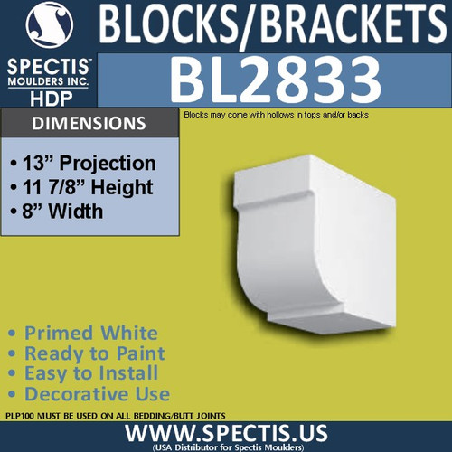 "BL2833 Eave Block or Bracket 8""W x 11.9""H x 13"" P"