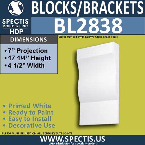 "BL2838 Eave Block or Bracket 4.5""W x 17.25""H x 7"" P"