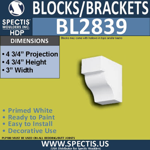 "BL2839 Eave Block or Bracket 3""W x 4.75""H x 4.75"" P"