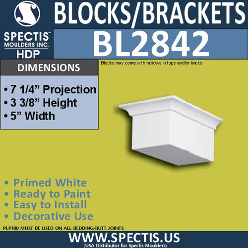 "BL2842 Eave Block or Bracket 5""W x 3.3""H x 7.25"" P"