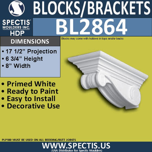 "BL2864 Eave Block or Bracket 8""W x 6.75""H x 17.5"" P"