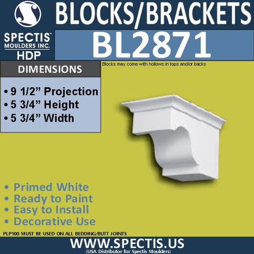 "BL2871 Eave Block or Bracket 5.75""W x 5.75""H x 9.5"" P"