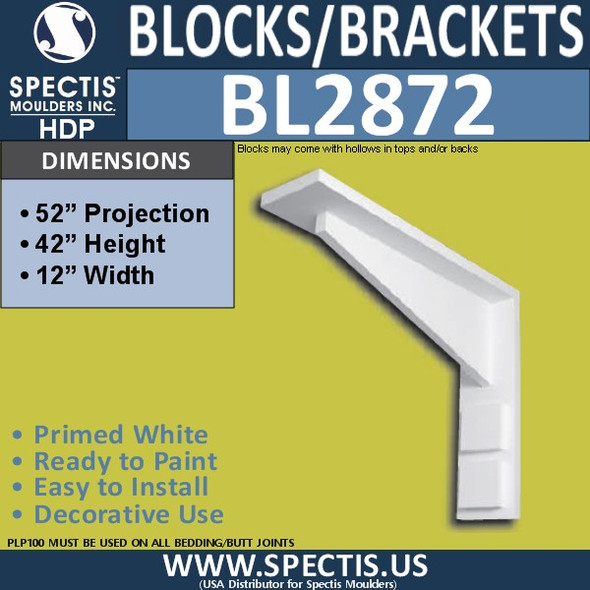 "BL2872 Eave Block or Bracket 2""W x 16""H x 44"" P"