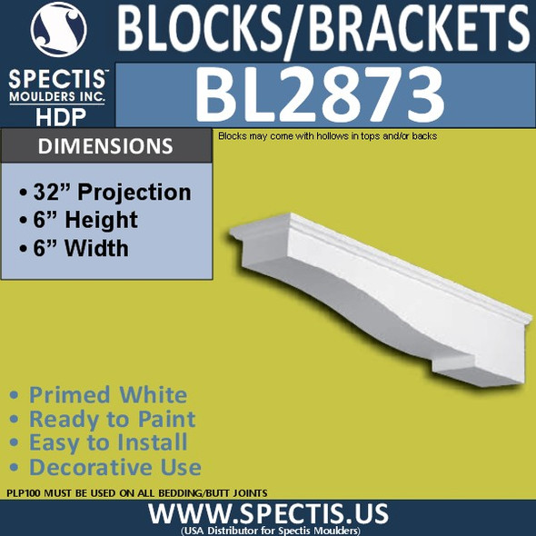 "BL2873 Eave Block or Bracket 6""W x 6""H x 32"" P"