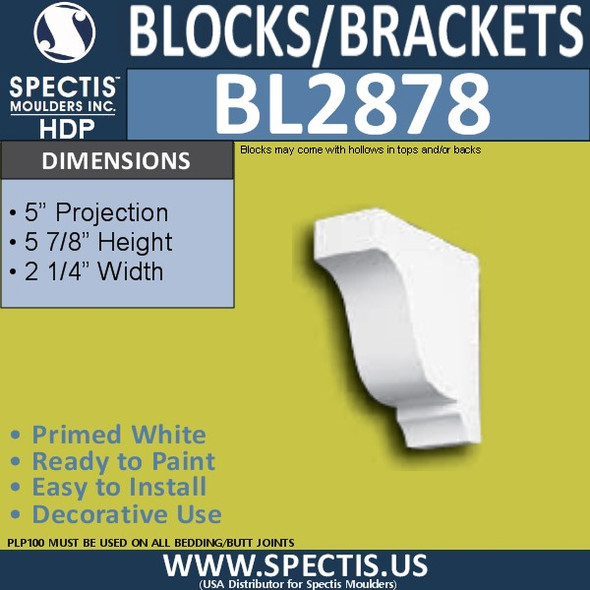 "BL2878 Eave Block or Bracket 2.25""W x 5.9""H x 5"" P"