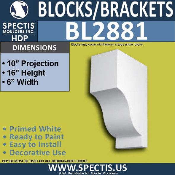"BL2881 Eave Block or Bracket 6""W x 16""H x 10"" P"