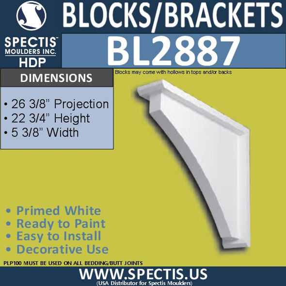 "BL2887 Eave Block or Bracket 5.25""W x 22.75""H x 26.25"" P"