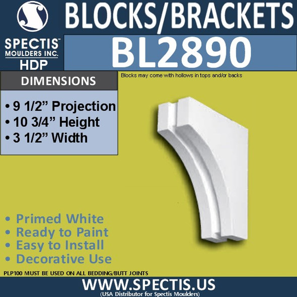 "BL2890 Eave Block or Bracket 3.5""W x 10.75""H x 9.5"" P"