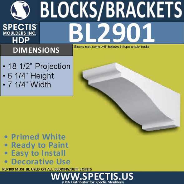 "BL2901 Eave Block or Bracket 7.25""W x 6.25""H x 18.5"" P"