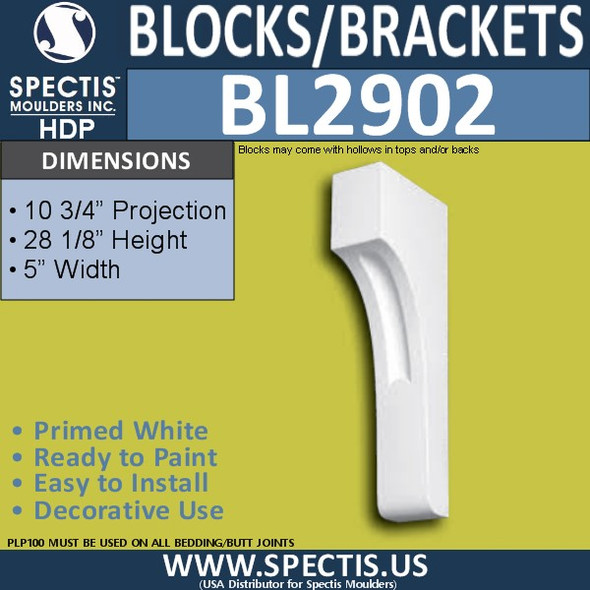 "BL2902 Eave Block or Bracket 5""W x 30.12""H x 10.75"" P"