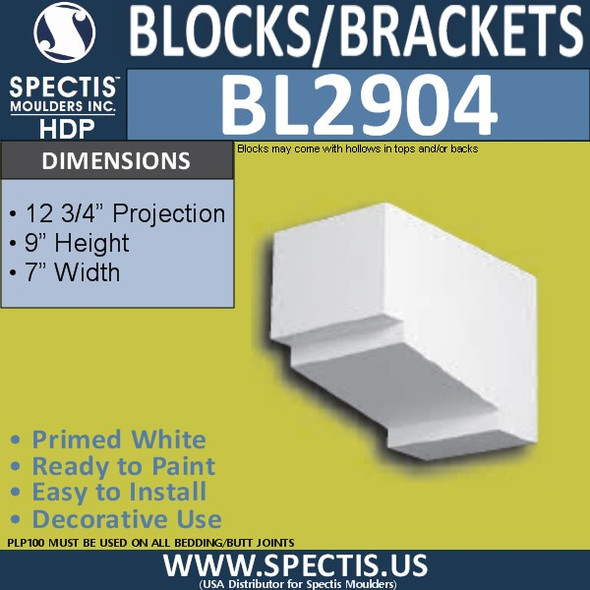 "BL2904 Eave Block or Bracket 7""W x 9""H x 12.75"" P"