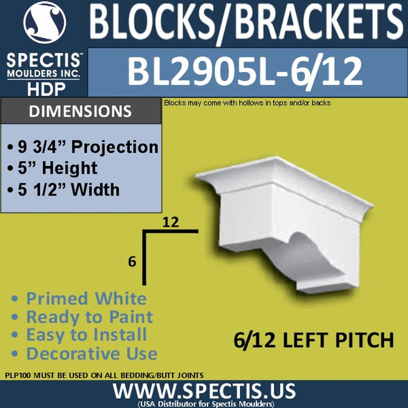 "BL2905L-6/12 Pitch Eave Bracket 6""W x 5""H x 9.75"" P"