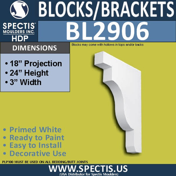 "BL2906 Eave Block or Bracket 3""W x 24""H x 18"" P"