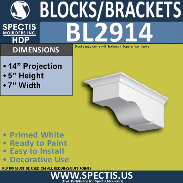 "BL2914 Eave Block or Bracket 7""W x 5""H x 14"" P"