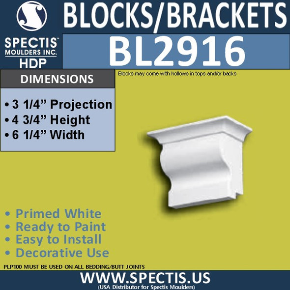 "BL2916 Eave Block or Bracket 6.25""W x 4.75""H x 3.25"" P"