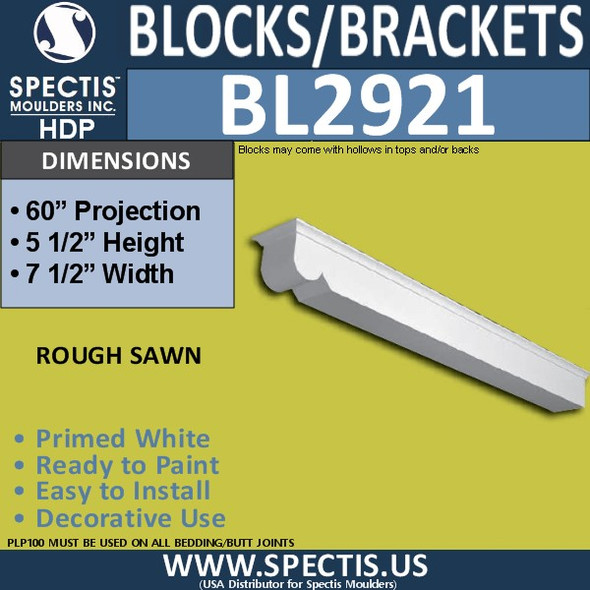 "BL2921 Eave Block or Bracket 7.5""W x 5.5""H x 60"" P"
