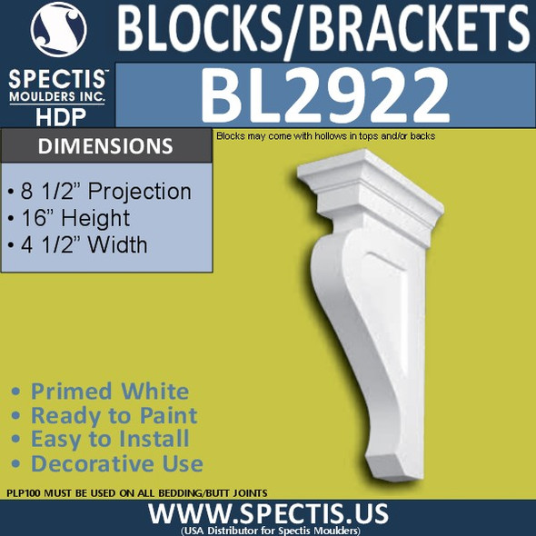 "BL2922 Eave Block or Bracket 4.5""W x 16""H x 8.5"" P"
