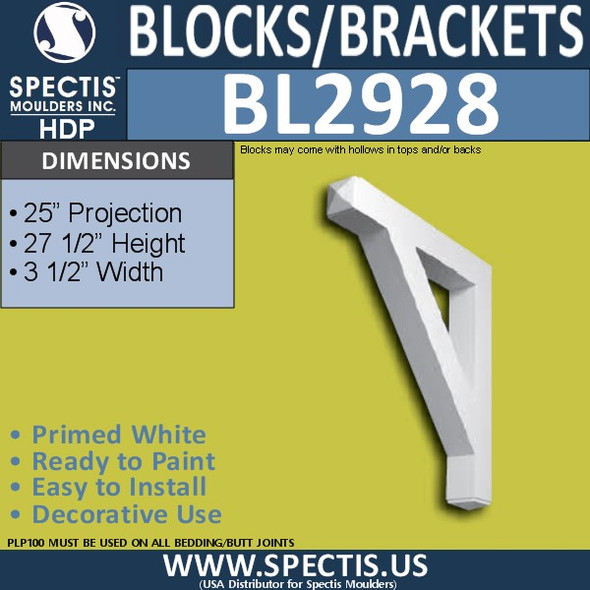 "BL2928 Eave Block or Bracket 3.5""W x 27.5""H x 25"" P"