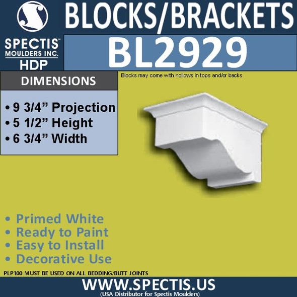 "BL2929 Eave Block or Bracket 5.5""W x 6.75""H x 9.75"" P"