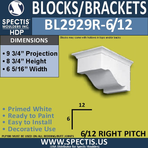 "BL2929R-6/12 Pitch Eave Bracket 6.5""W x 8.75""H x 9.75"" P"