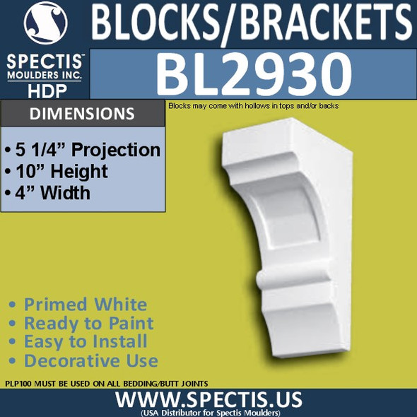 "BL2930 Eave Block or Bracket 4""W x 10""H x 5.5"" P"