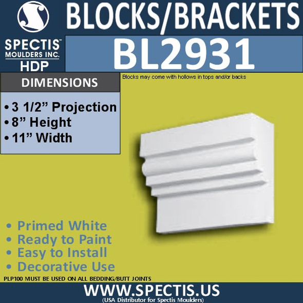 "BL2931 Eave Block or Bracket 11""W x 8""H x 3.5"" P"
