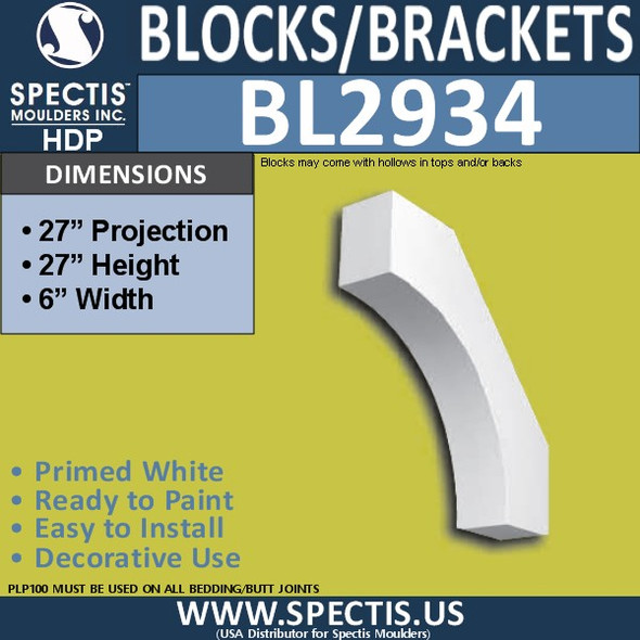 "BL2934 Eave Block or Bracket 6""W x 27""H x 27"" P"