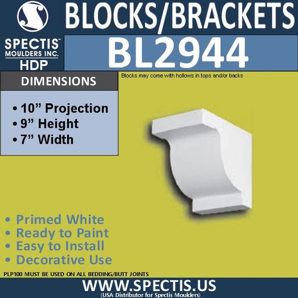 "BL2944 Eave Block or Bracket 7""W x 9""H x 10"" P"