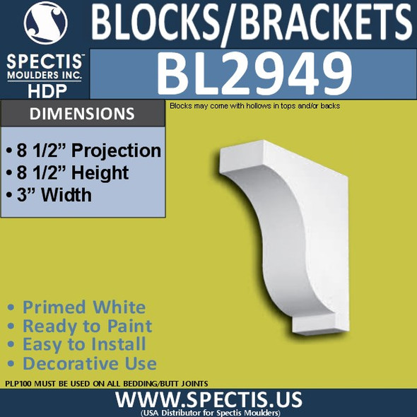 "BL2949 Eave Block or Bracket 3""W x 8.5""H x 8.5"" P"
