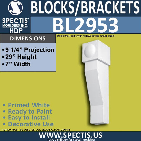 "BL2953 Eave Block or Bracket 7""W x 29""H x 9.25"" P"