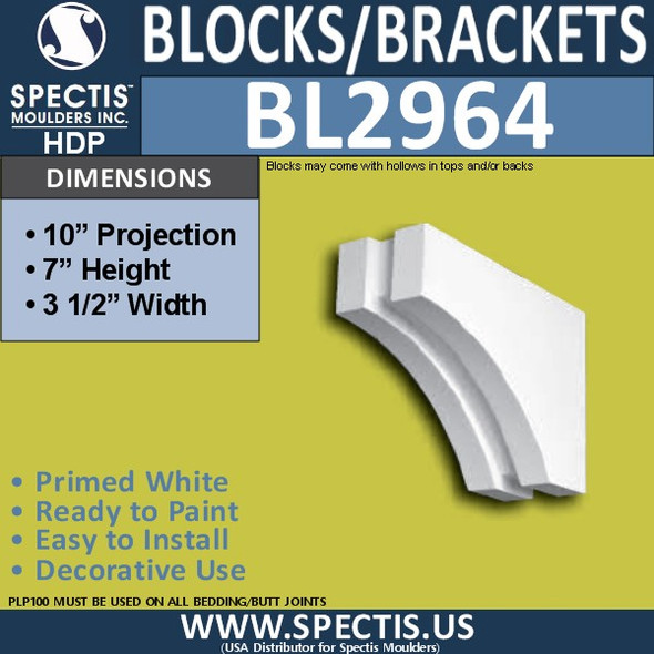 "BL2964 Eave Block or Bracket 3.5""W x 7""H x 10"" P"
