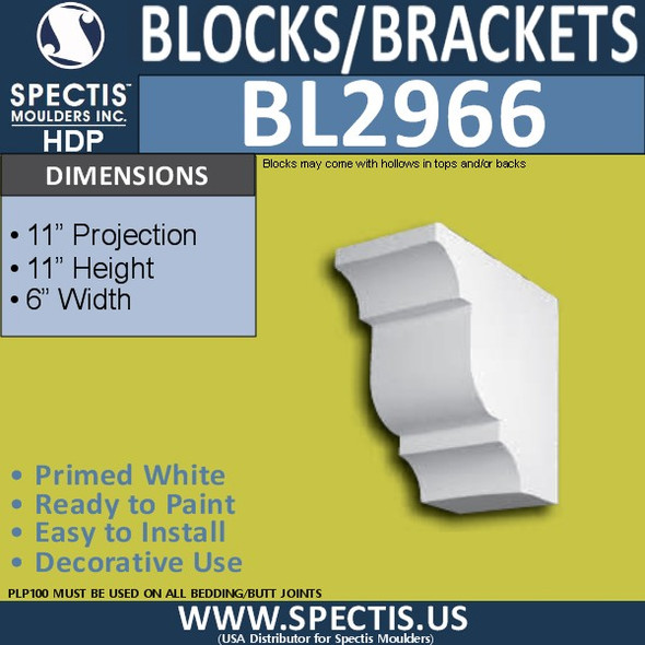 "BL2966 Eave Block or Bracket 6""W x 11""H x 11"" P"
