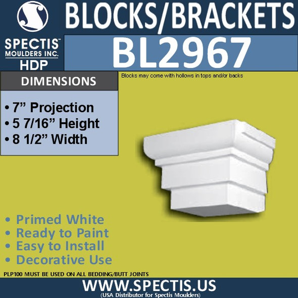 "BL2967 Eave Block or Bracket 8.5""W x 5.5""H x 7"" P"