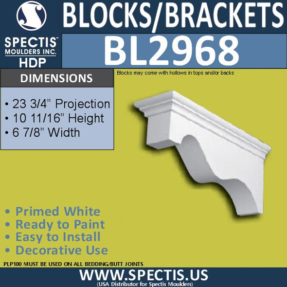 "BL2968 Eave Block or Bracket 6.5""W x 10.5""H x 23.5"" P"