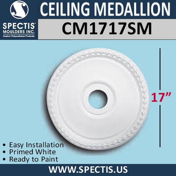"CM1717SM Decorative Ceiling Medallion 3"" Hole x 17"" Round"