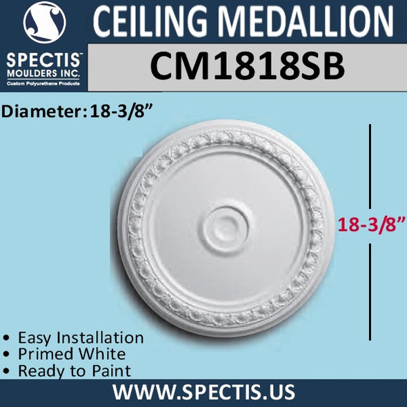 "CM1818SB Decorative Ceiling Medallion 18-3/8"" Round"