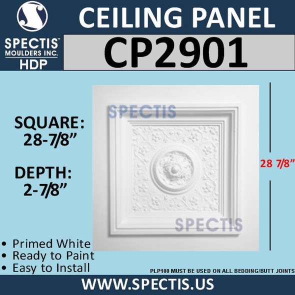 "CP2901 Decorative Ceiling Panel 28 7/8"" Square"