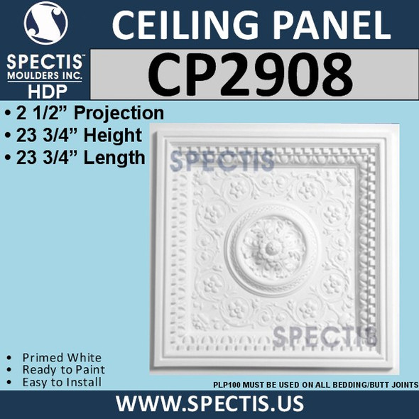 "CP2908 Decorative Urethane Ceiling Panel 23 3/4"" Square"