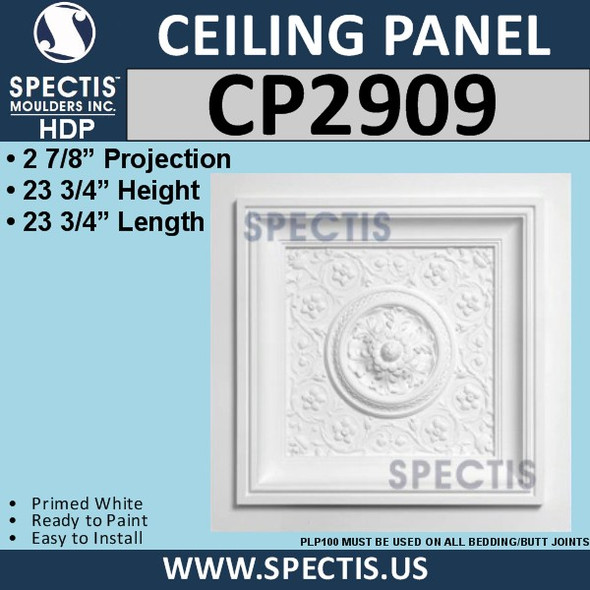 "CP2909 Decorative Urethane Ceiling Panel 23 3/4"" Square"