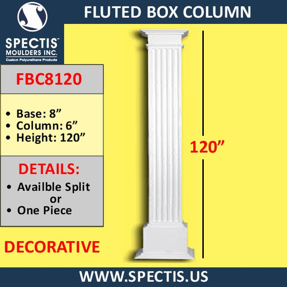 "FBC8120 Fluted Box Column 8"" x 120"""