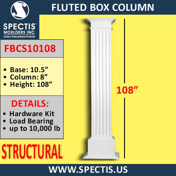 "FBCS10108 Structural Fluted Box Column 8"" x 108"""