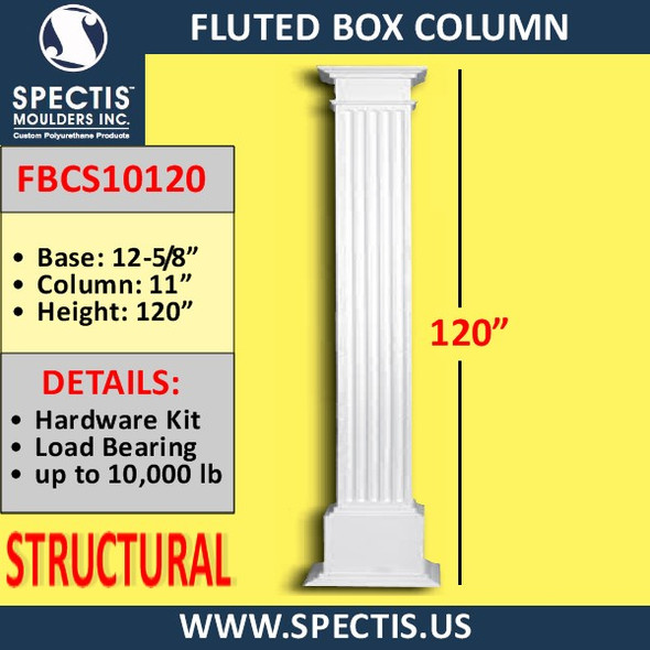 "FBCS10120 11"" x 120"" Structural Fluted Box Column"