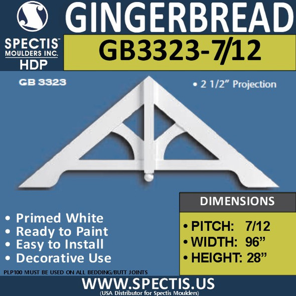 "GB3323-7-12 Gingerbread Gable Trim 95 1/4""W x 27 3/4""H"