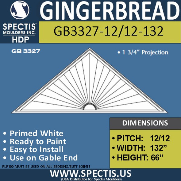 "GB3327-12/12-132 Gingerbread Gable Trim 132""W X 66""H"