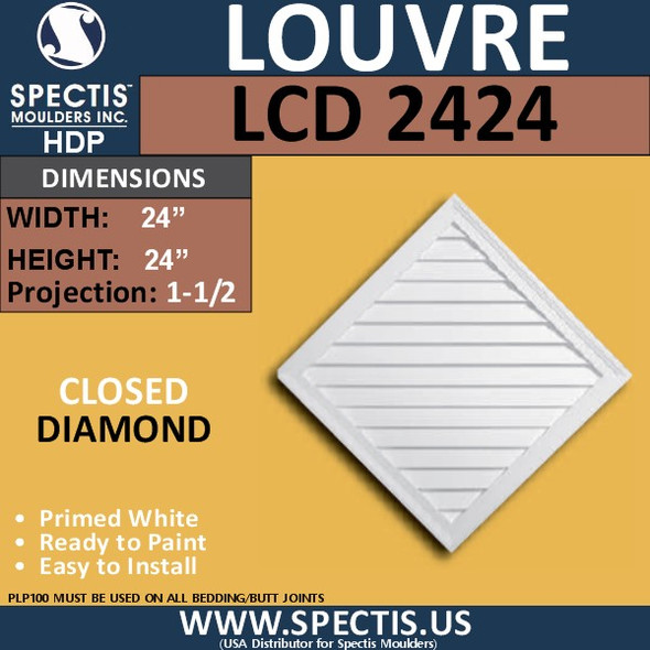 LCD2424 Diamond Gable Louver Vent - Closed - 24 x 24