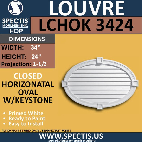 LCHOK3424 Oval with Keystone Louver Closed 34 x 24