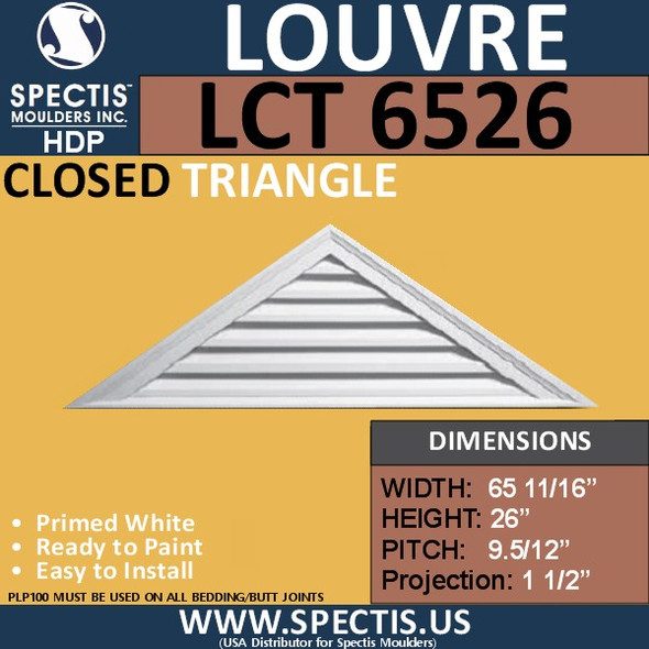 LCT6526 Triangle Gable Louver Vent - Closed - 65 11/16 x 26