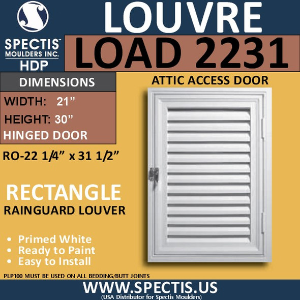 LOAD2231 Attic Access Door Open Louver 22 x 31